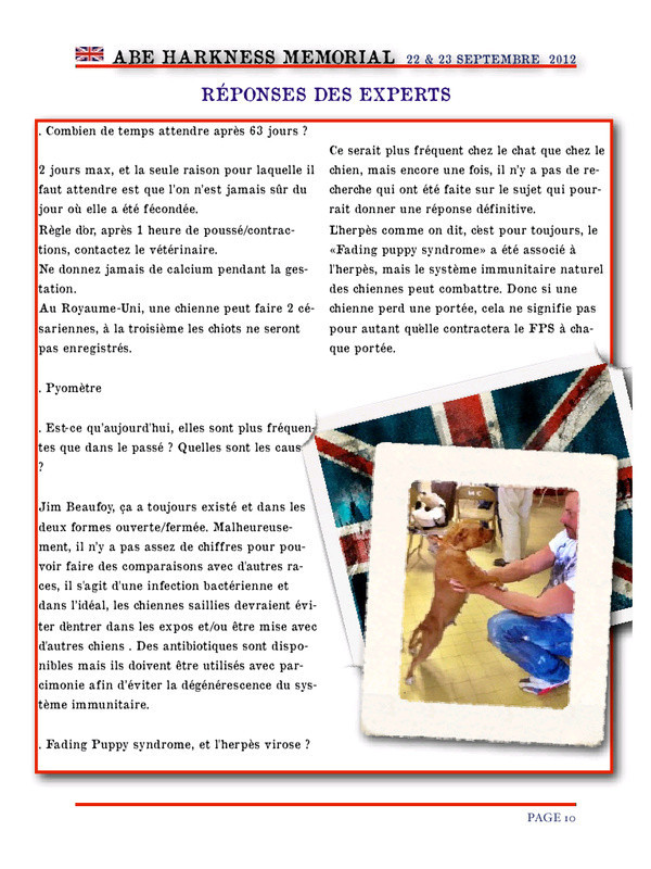 Conférence - ABE HARKNESS MEMORIAL - 22 et 23 Septembre 2012 - Staffordshire Bull Terrier